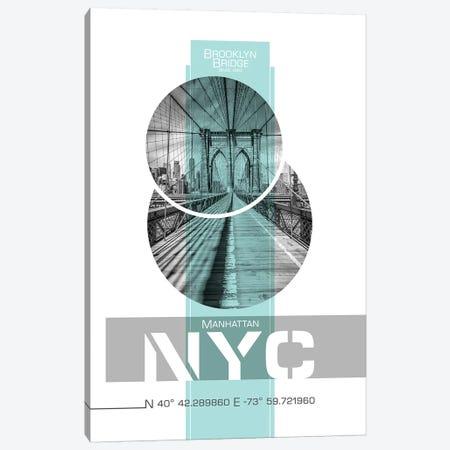 Poster Art NYC Brooklyn Bridge | Turquoise Canvas Print #MEV238} by Melanie Viola Canvas Art Print