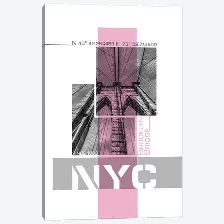 Poster Art NYC Brooklyn Bridge Details | Pink Canvas Print #MEV239} by Melanie Viola Canvas Art Print