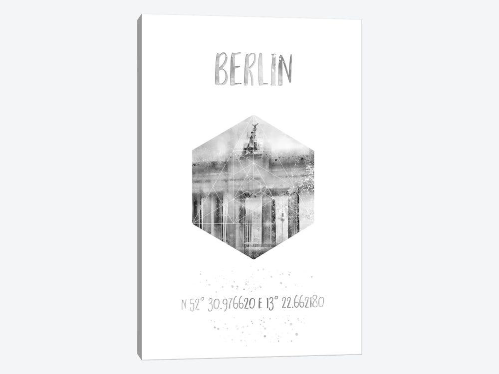 Coordinates Berlin Brandenburg Gate by Melanie Viola 1-piece Canvas Art Print