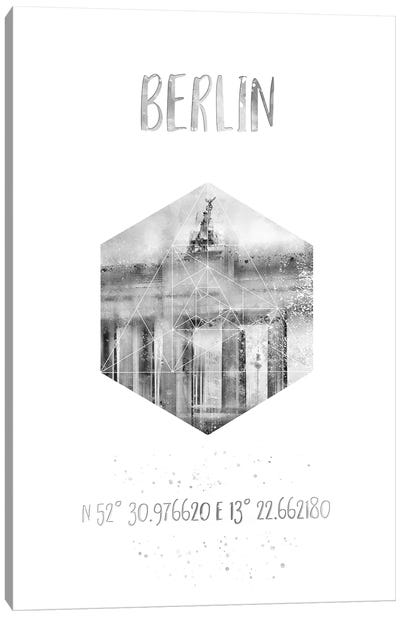 Coordinates Berlin Brandenburg Gate Canvas Art Print