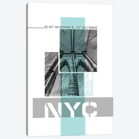 Poster Art NYC Brooklyn Bridge Details | Turquoise Canvas Print #MEV240} by Melanie Viola Canvas Art