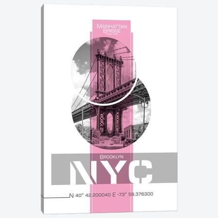 Poster Art NYC Manhattan Bridge   Pink Canvas Print #MEV241} by Melanie Viola Canvas Artwork