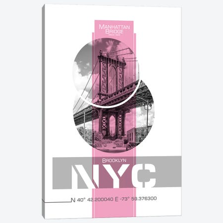 Poster Art NYC Manhattan Bridge | Pink Canvas Print #MEV241} by Melanie Viola Canvas Artwork