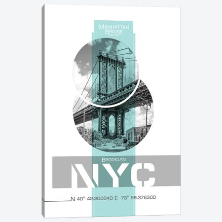 Poster Art NYC Manhattan Bridge | Turquoise Canvas Print #MEV242} by Melanie Viola Canvas Wall Art