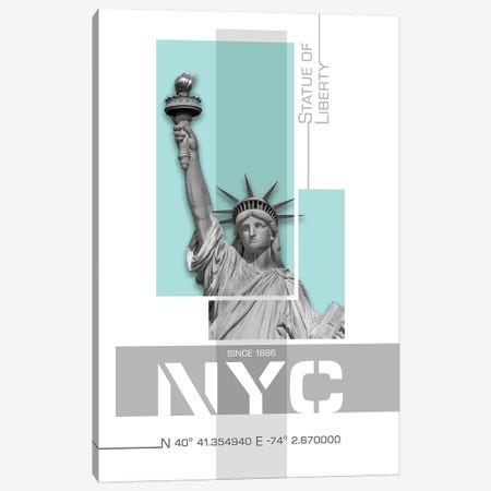 Poster Art NYC Statue Of Liberty | Turquoise Canvas Print #MEV244} by Melanie Viola Art Print