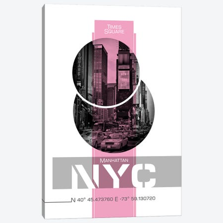 Poster Art NYC Times Square | Pink Canvas Print #MEV245} by Melanie Viola Art Print