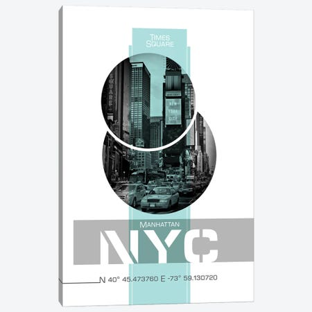 Poster Art NYC Times Square | Turquoise Canvas Print #MEV246} by Melanie Viola Canvas Print