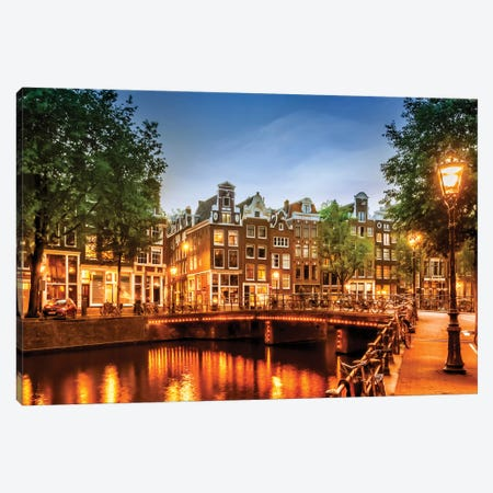 Amsterdam Impression From Singel Canvas Print #MEV247} by Melanie Viola Art Print