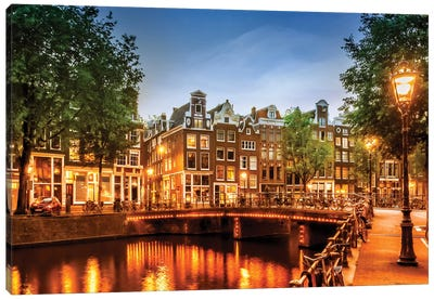 Amsterdam Impression From Singel Canvas Art Print