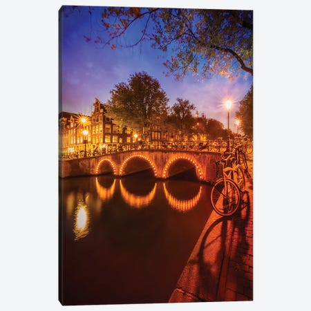 Amsterdam Nightscape from Keizersgracht Canvas Print #MEV248} by Melanie Viola Canvas Art