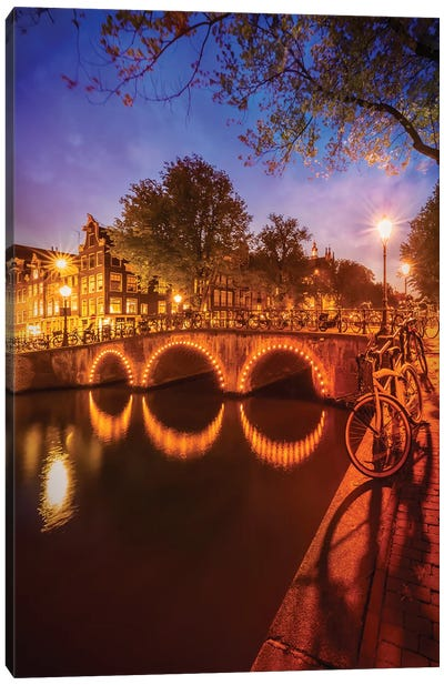 Amsterdam Nightscape from Keizersgracht Canvas Art Print
