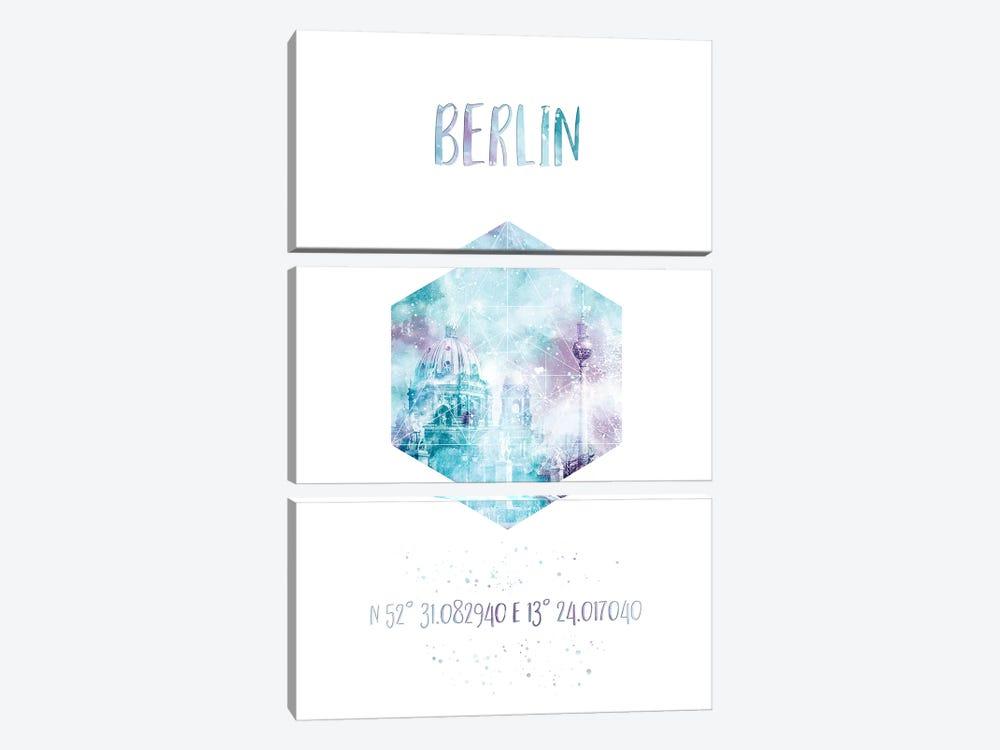 Coordinates Berlin Cathedral & Television Tower by Melanie Viola 3-piece Canvas Artwork
