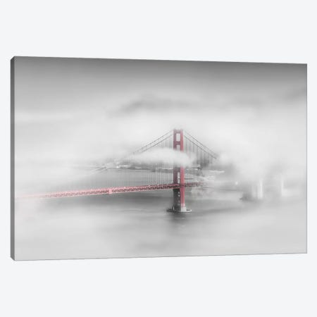 Foggy Golden Gate Bridge 3-Piece Canvas #MEV258} by Melanie Viola Canvas Art Print