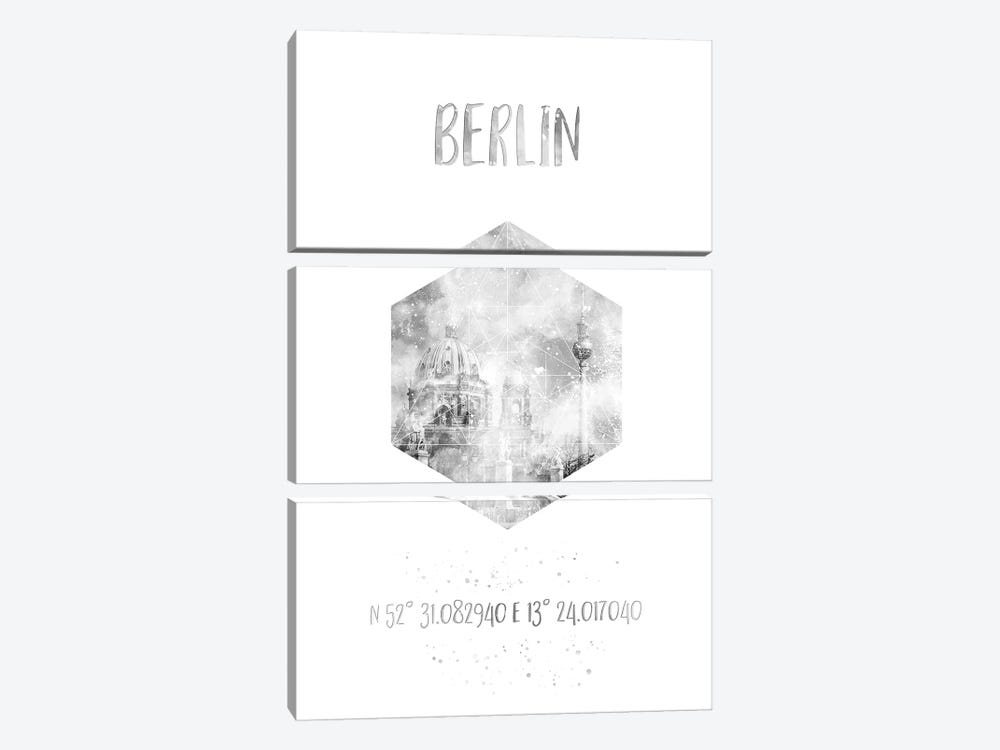 Coordinates Berlin Cathedral & Television Tower by Melanie Viola 3-piece Canvas Print