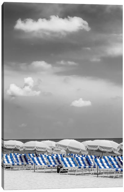 Beach Scene With A Blue Color Pop Canvas Art Print