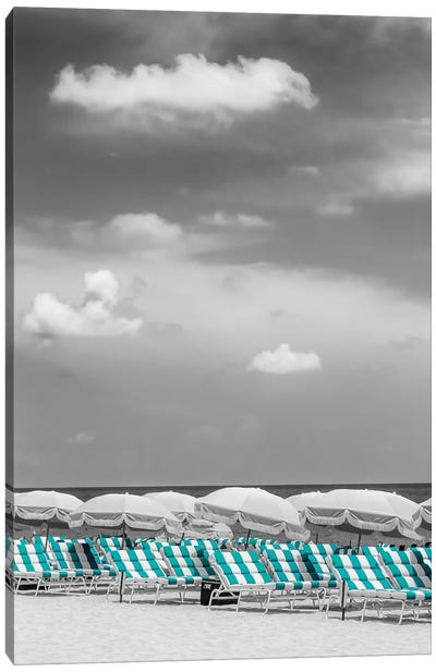 Beach Scene With A Turquoise Color Pop Canvas Art Print