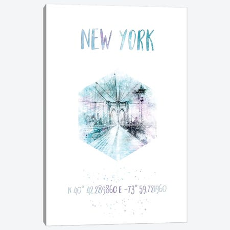 Coordinates NYC Brooklyn Bridge Canvas Print #MEV26} by Melanie Viola Canvas Art Print
