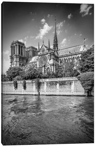 Cathedral Notre Dame In Black & White Canvas Art Print