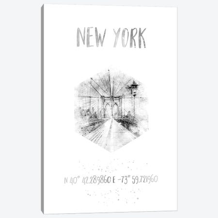 Coordinates NYC Brooklyn Bridge Canvas Print #MEV27} by Melanie Viola Canvas Print
