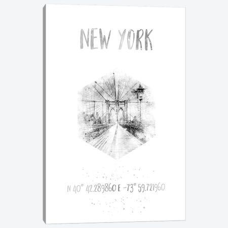 Coordinates NYC Brooklyn Bridge Canvas Print #MEV27} by Melanie Viola Canvas Print
