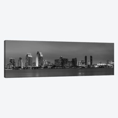 San Diego Evening Skyline In Black & White Canvas Print #MEV286} by Melanie Viola Art Print