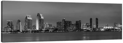 San Diego Evening Skyline In Black & White Canvas Art Print