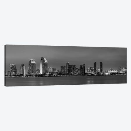 San Diego Evening Skyline In Black & White Canvas Print #MEV286} by Melanie Viola Art Print