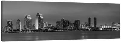San Diego Evening Skyline In Black & White Canvas Art Print