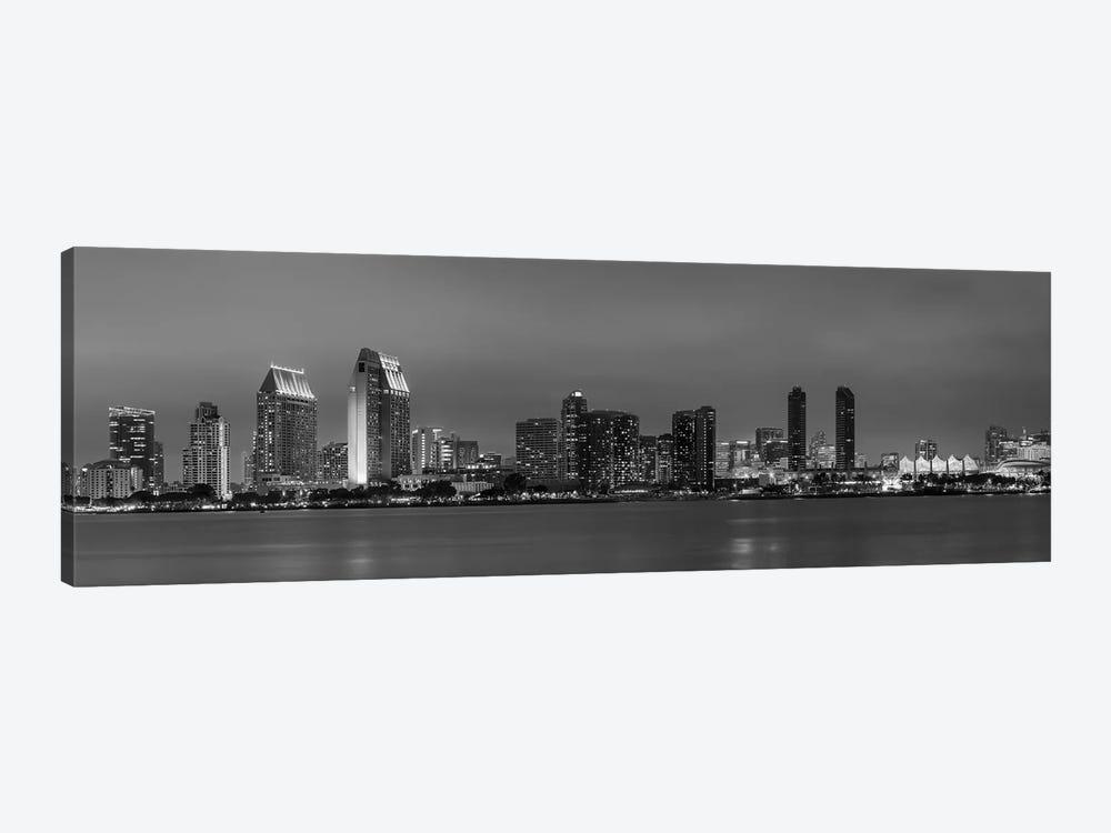 San Diego Evening Skyline In Black & White by Melanie Viola 1-piece Canvas Print