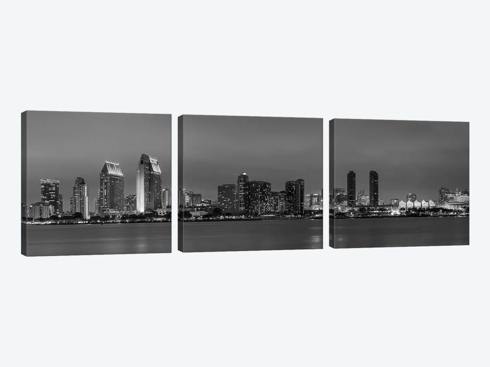 San Diego Evening Skyline In Black & White by Melanie Viola 3-piece Canvas Print