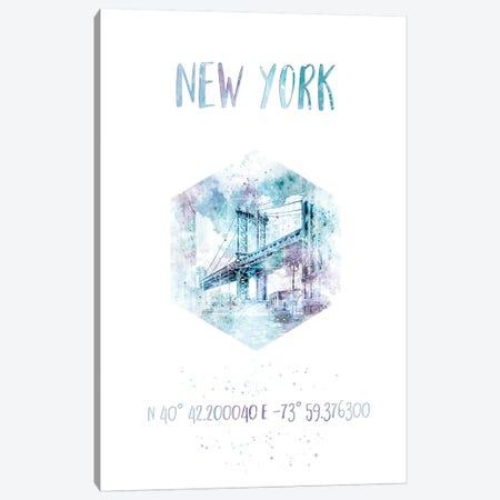 Coordinates NYC Manhattan Bridge Canvas Print #MEV28} by Melanie Viola Canvas Wall Art