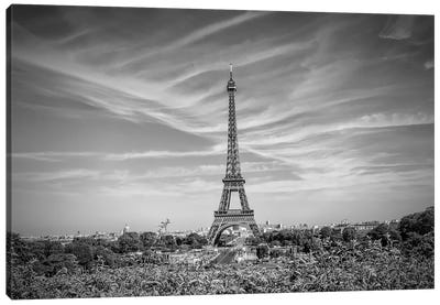 Eiffel Tower Skyline In Black & White Canvas Art Print