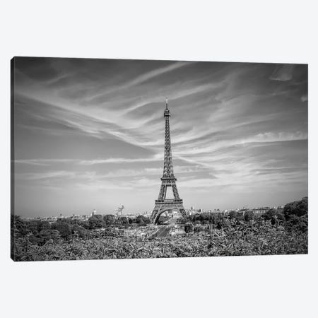 Eiffel Tower Skyline In Black & White Canvas Print #MEV294} by Melanie Viola Canvas Wall Art
