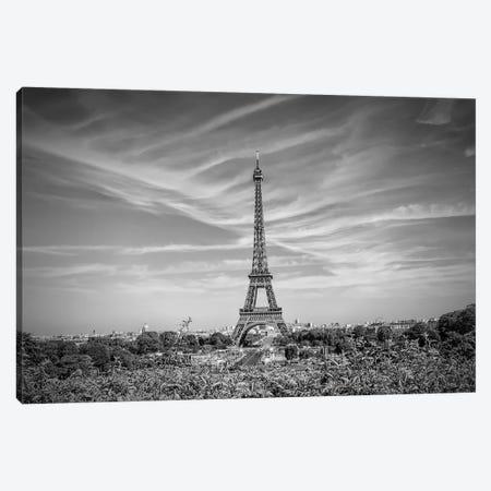 Eiffel Tower Skyline In Black & White Canvas Print #MEV294} by Melanie Viola Canvas Wall Art