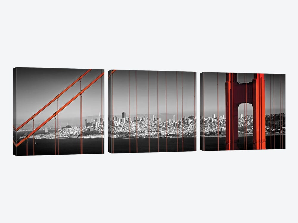 Golden Gate Bridge Panoramic Downtown View by Melanie Viola 3-piece Canvas Wall Art