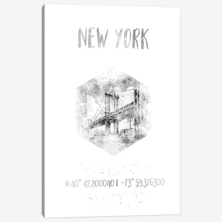 Coordinates NYC Manhattan Bridge Canvas Print #MEV29} by Melanie Viola Canvas Artwork