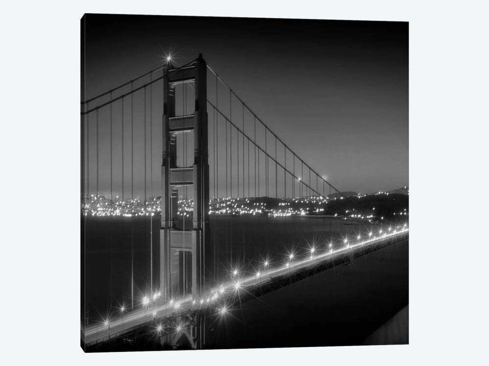 Evening Cityscape Of Golden Gate Bridge | Monochrome by Melanie Viola 1-piece Canvas Wall Art