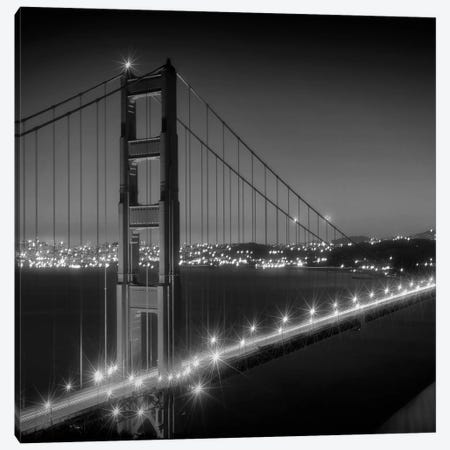Evening Cityscape Of Golden Gate Bridge | Monochrome Canvas Print #MEV300} by Melanie Viola Canvas Print