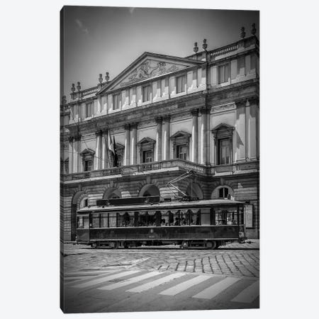 Milan Teatro Alla Scala And Tram Canvas Print #MEV302} by Melanie Viola Canvas Art Print