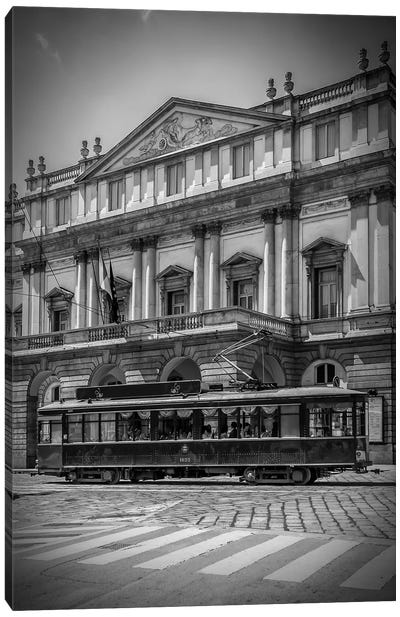 Milan Teatro Alla Scala And Tram Canvas Art Print