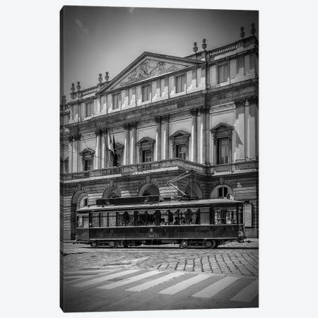 Milan Teatro Alla Scala And Tram Canvas Print #MEV302} by Melanie Viola Canvas Art Print