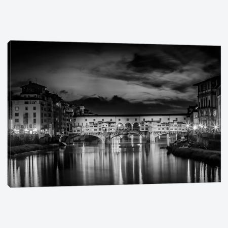 Florence Idyllic Ponte Vecchio At Night Canvas Print #MEV305} by Melanie Viola Canvas Wall Art