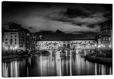 Florence Idyllic Ponte Vecchio At Night Canvas Art Print