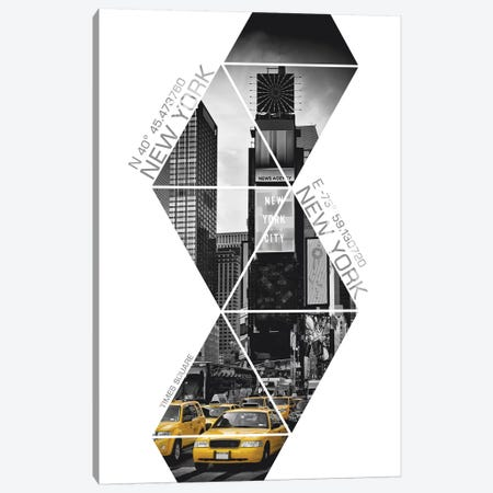Coordinates NYC Times Square Canvas Print #MEV30} by Melanie Viola Canvas Print