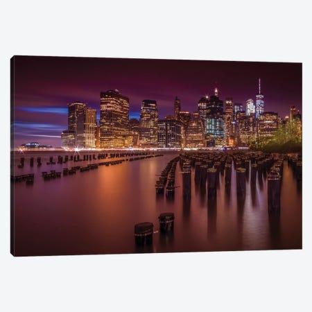 Manhattan Skyline At Sunset Canvas Print #MEV311} by Melanie Viola Canvas Artwork