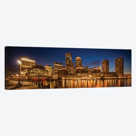 Boston Fan Pier Park & Skyline In The Evening | Panoramic Canvas Print #MEV313} by Melanie Viola Canvas Art