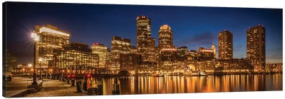 Boston Fan Pier Park & Skyline In The Evening | Panoramic Canvas Art Print