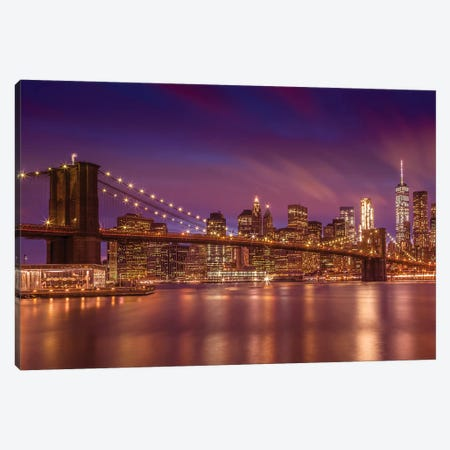 Brooklyn Bridge New York City Sunset Canvas Print #MEV314} by Melanie Viola Art Print