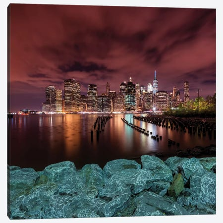 Manhattan Skyline Evening Atmosphere In New York City Canvas Print #MEV318} by Melanie Viola Canvas Art
