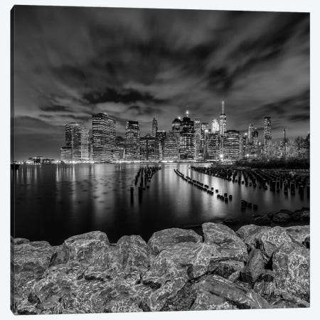 Manhattan Skyline Evening Atmosphere In New York City | Monochrome Canvas Print #MEV319} by Melanie Viola Canvas Wall Art